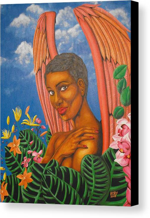 African American Female Angel In Colorful Tropical Setting Canvas Print featuring the painting Paradise by William Roby