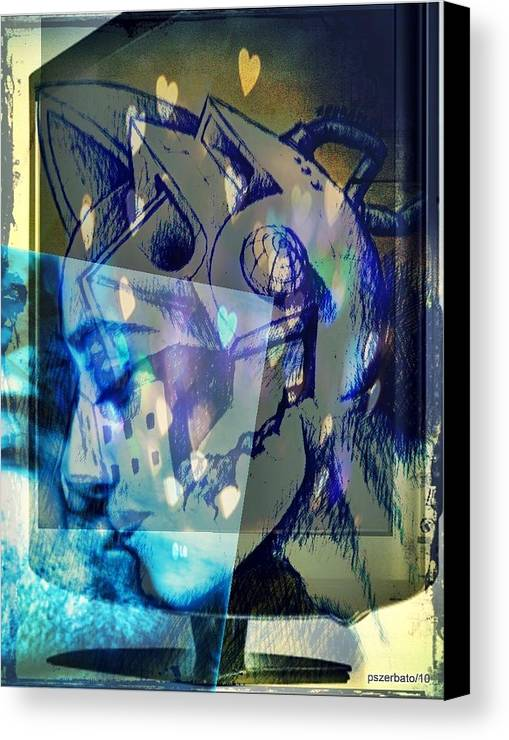 Physical Sensation Canvas Print featuring the digital art Virtual Kiss 1 by Paulo Zerbato