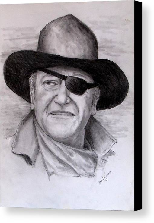 Cowboy Canvas Print featuring the drawing The Duke by Jack Skinner