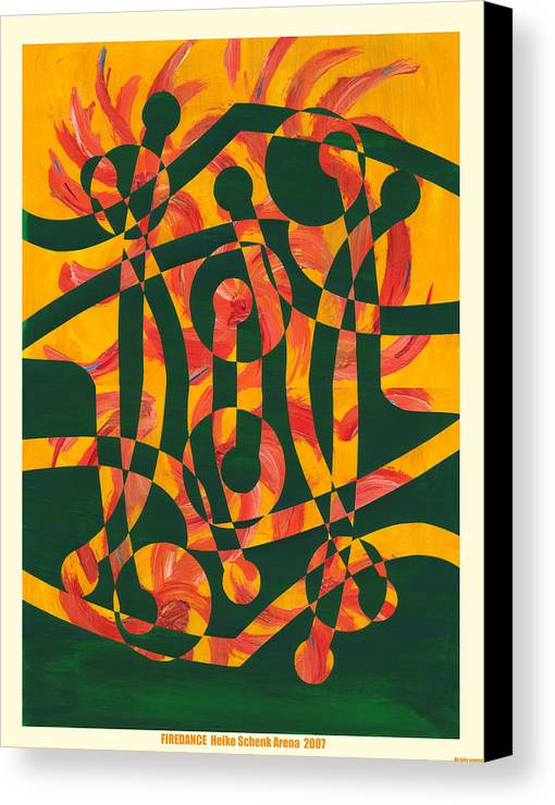 Collage.abstract Canvas Print featuring the mixed media Firedance by Heike Schenk-Arena
