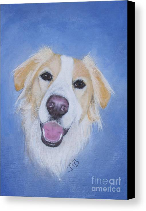 Dog Canvas Print featuring the painting My Blonde Border Collie by Janice M Booth