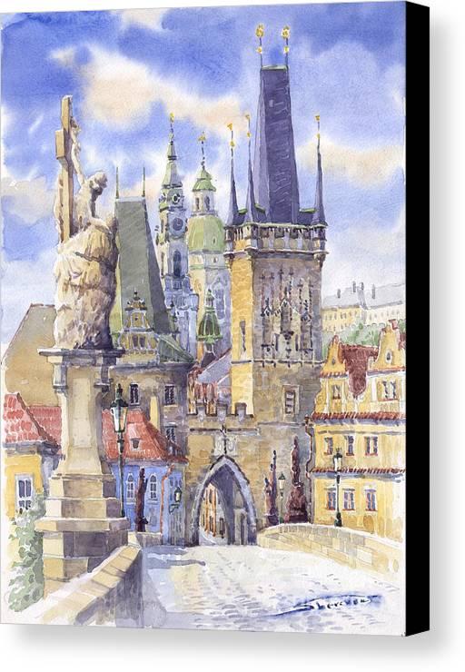 Watercolour Canvas Print featuring the painting Prague Charles Bridge by Yuriy Shevchuk