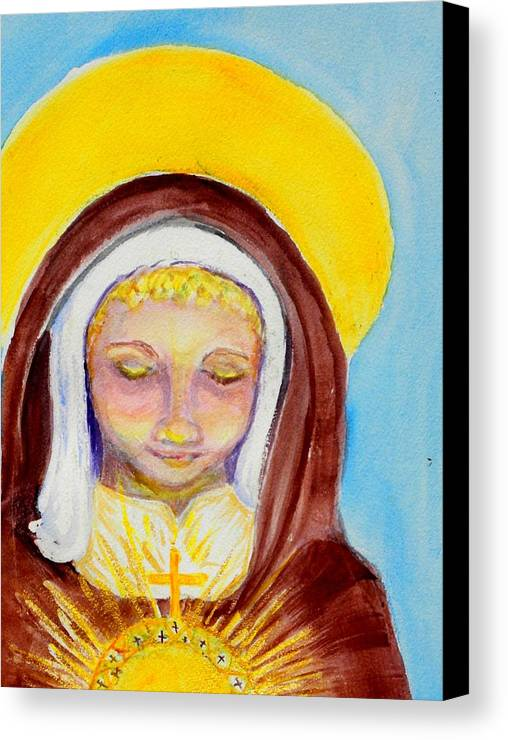 St. Clare Canvas Print featuring the painting St. Clare Of Assisi by Susan Clark