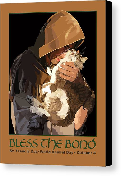 Animal Canvas Print featuring the digital art St. Francis With Cat by Kris Hackleman