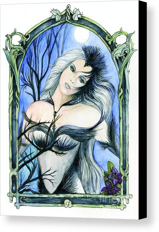 Ravens Canvas Print featuring the painting Vivian Of The Ravens by Morgan Fitzsimons