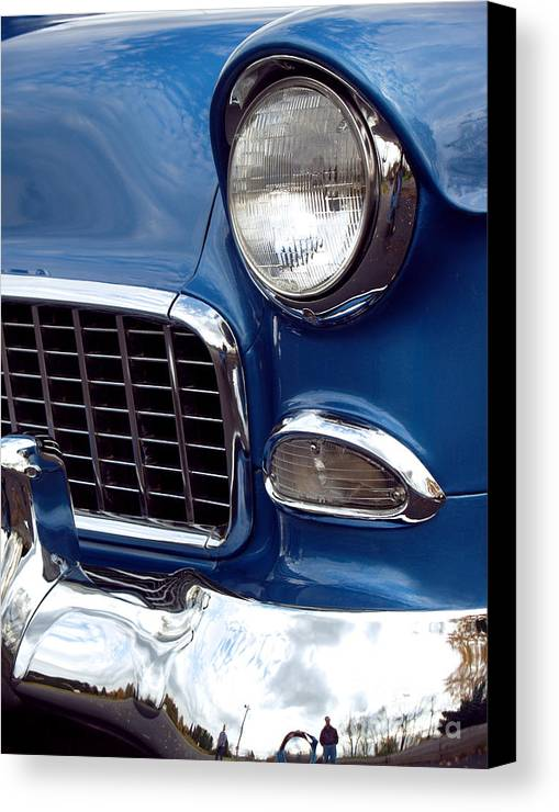 Chevy Canvas Print featuring the photograph 1955 Chevy Front End by Anna Lisa Yoder