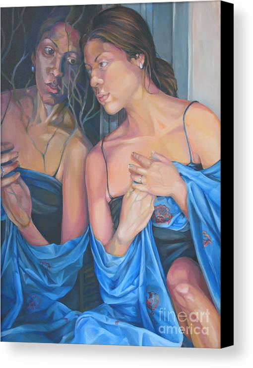 Portrait Canvas Print featuring the painting Introspect by Julie Orsini Shakher