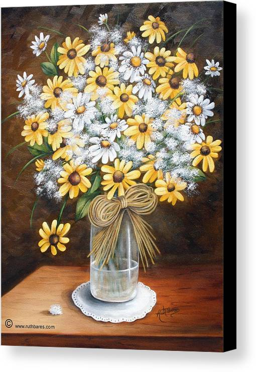 Still Lift Canvas Print featuring the painting A Country Bouquet by Ruth Bares