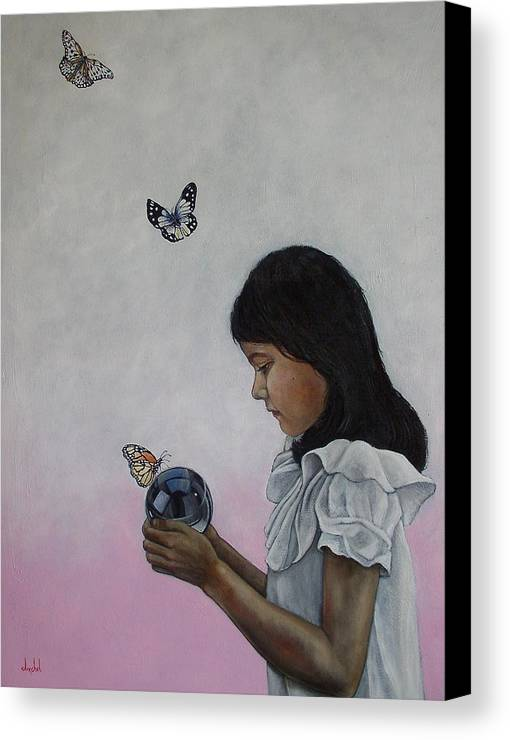 Butterflies Canvas Print featuring the painting Alexandria Of The Butterflies by Ixchel Amor