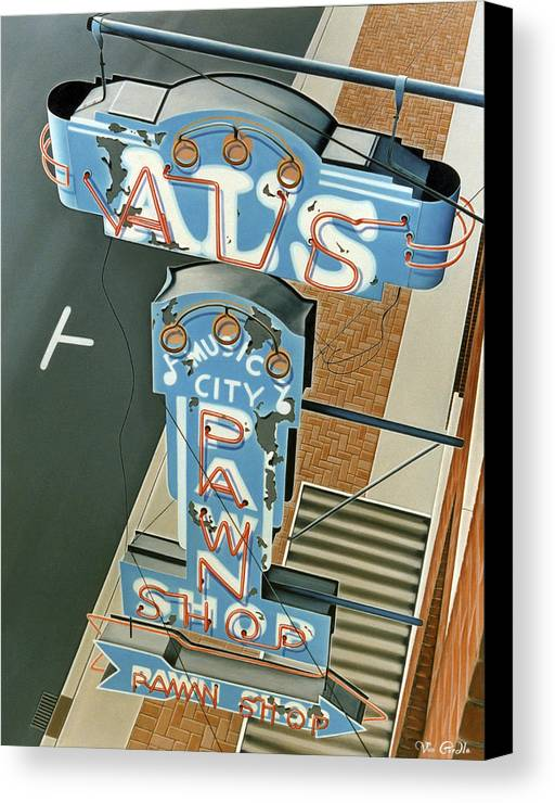 Sign Canvas Print featuring the painting Al's by Van Cordle