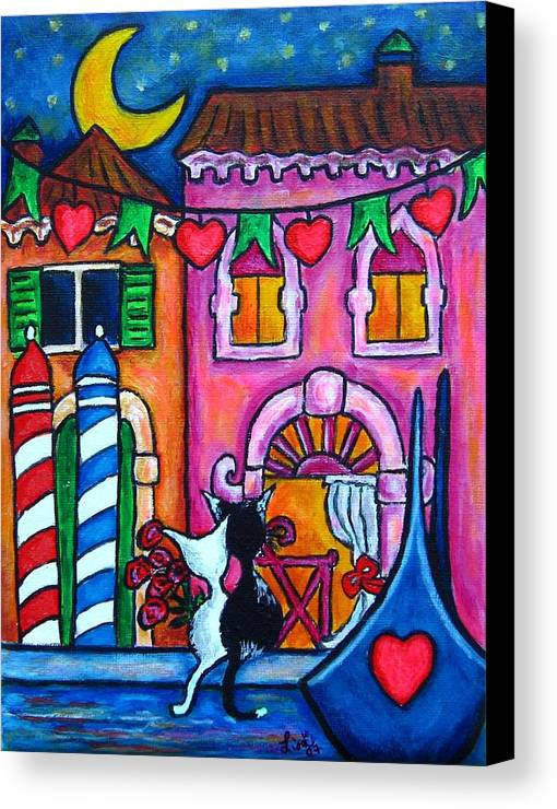 Cats Canvas Print featuring the painting Amore In Venice by Lisa Lorenz