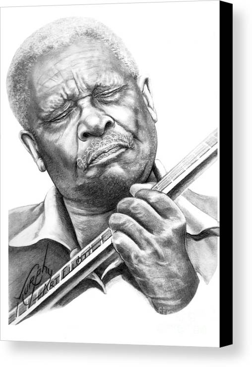 Pencil Canvas Print featuring the drawing B B King by Murphy Elliott