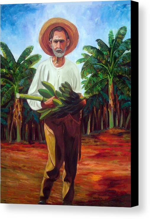 Cuban Art Canvas Print featuring the painting Banana Farmer by Jose Manuel Abraham