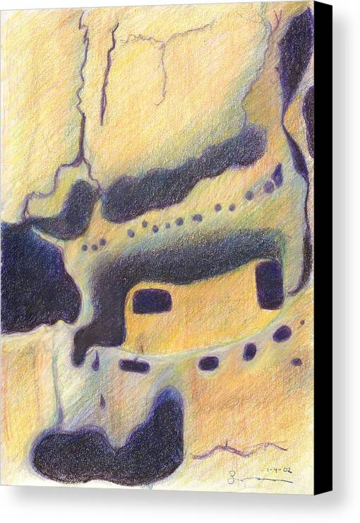 Bandelier National Monument Canvas Print featuring the drawing Bandelier I by Harriet Emerson