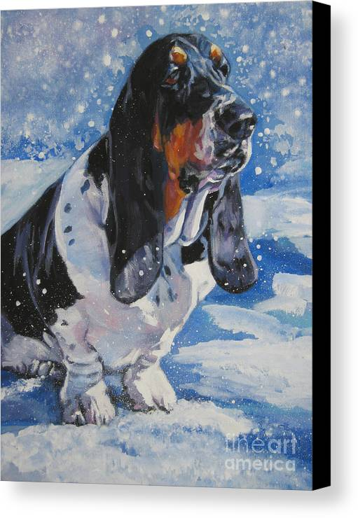 Dog Canvas Print featuring the painting basset Hound in snow by Lee Ann Shepard