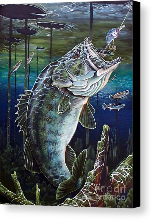 Bass Canvas Print featuring the painting Beneath The Surface by Monica Turner