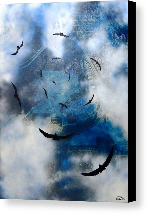 Landscape Birds Apocalypse Ominous Surreal Canvas Print featuring the painting birds of apocalypse VI by Poul Costinsky