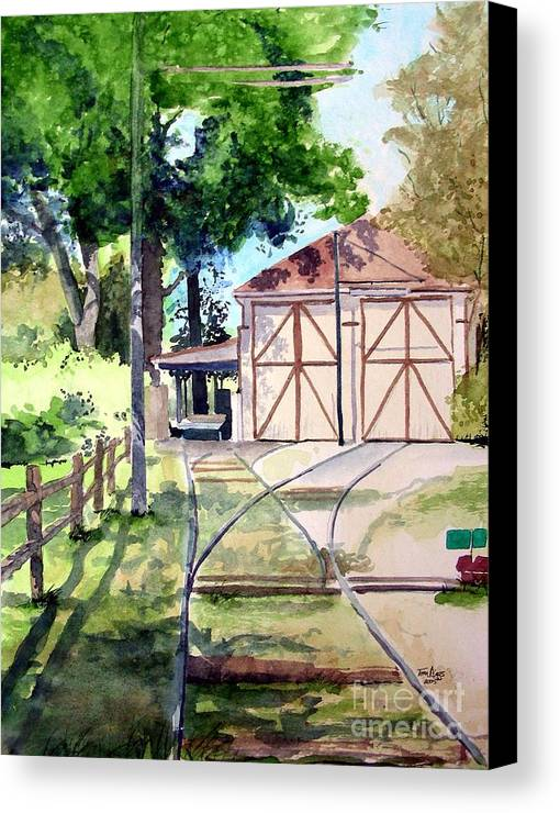Trolley Canvas Print featuring the painting Birney Trolley Barn by Tom Riggs