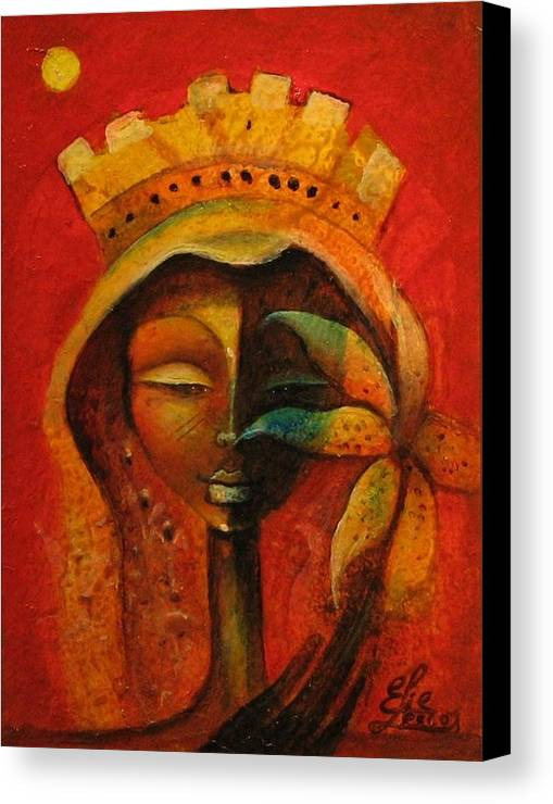 Haitian Art Canvas Print featuring the painting Black Flower Queen by Elie Lescot