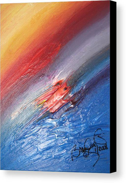 Abstract Canvas Print featuring the painting Bliss - D by Brenda Basham Dothage
