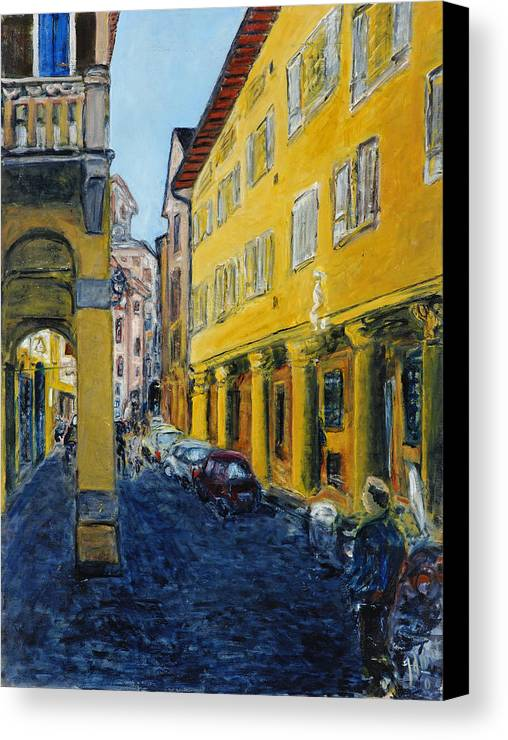 Cityscape Italy Bologna Cars Yellow Houses Man Columns Canvas Print featuring the painting Bologna Galeria by Joan De Bot