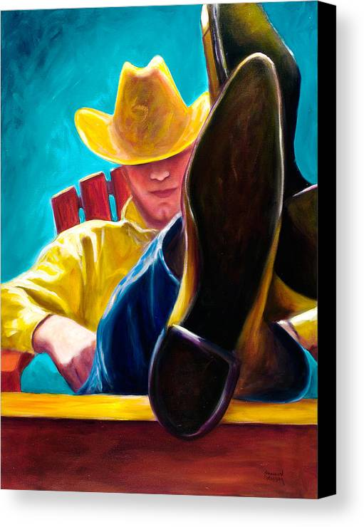 Western Canvas Print featuring the painting Break Time by Shannon Grissom