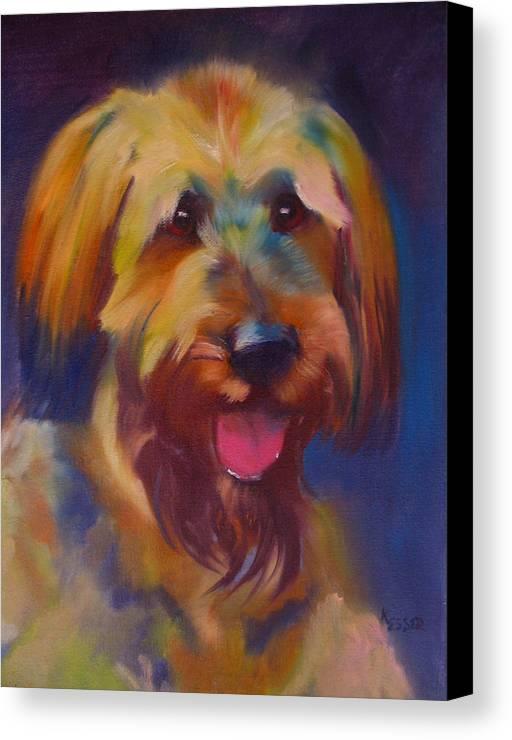 Briard Puppy Canvas Print featuring the painting Briard Puppy by Kaytee Esser