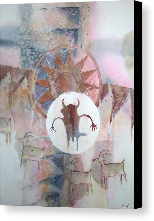 Indian Pictograph Canvas Print featuring the painting Buffalo Dancer by Don Trout