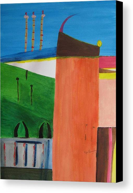 Abstract Canvas Print featuring the painting Bullring - Plaza De Toro. by Roger Cummiskey