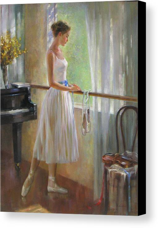 Figurative Painting Canvas Print featuring the painting By The Window by Kelvin Lei