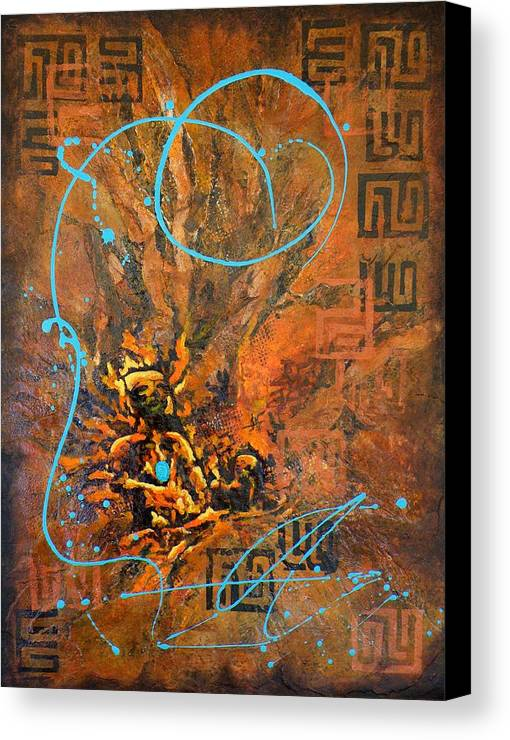 Non-representational Canvas Print featuring the painting Can You Hear Me by Tara Milliken
