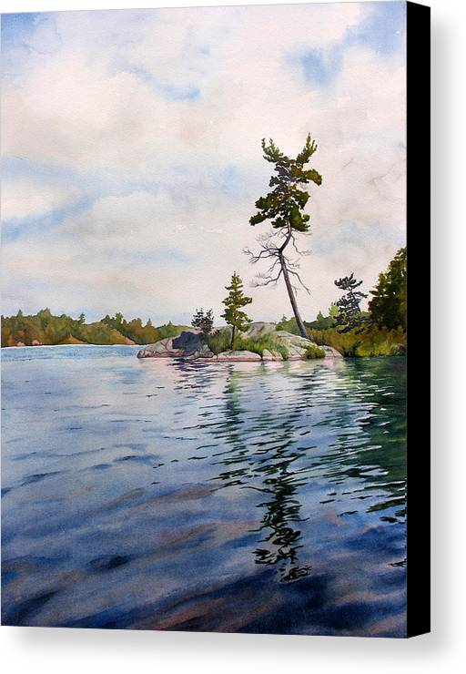 Lake Canvas Print featuring the painting Canadian Shield Sculpture by Debbie Homewood