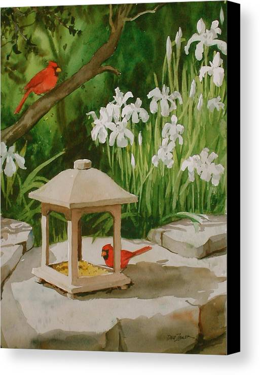 Birds Canvas Print featuring the painting Cardinals Feeding by Faye Ziegler