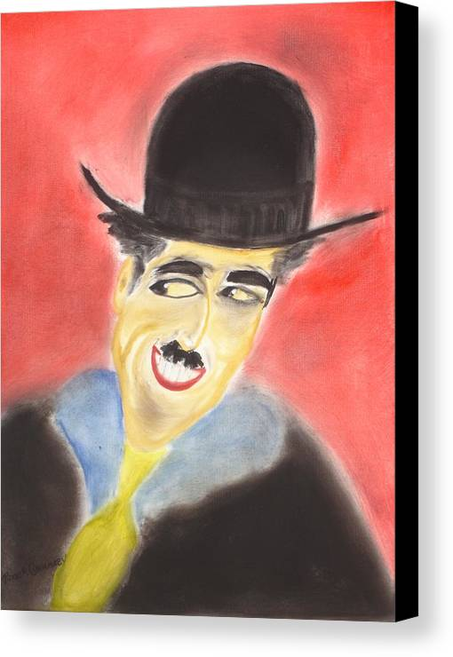Cinema Film Canvas Print featuring the painting Chaplin by Roger Cummiskey