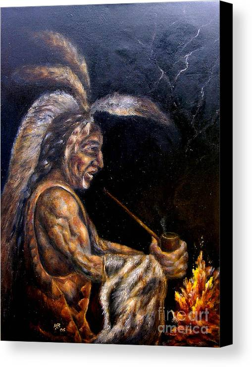 Figurative Canvas Print featuring the painting Chief At The Campfire by MM Zurahov