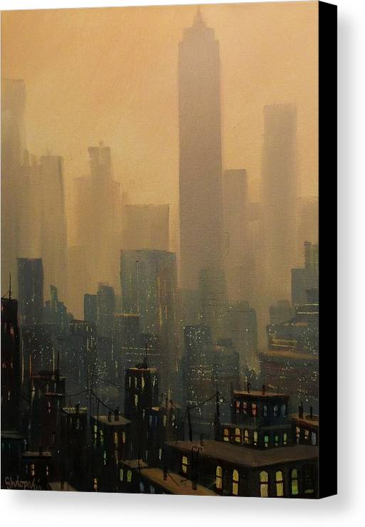 Chicago Canvas Print featuring the painting City Haze by Tom Shropshire