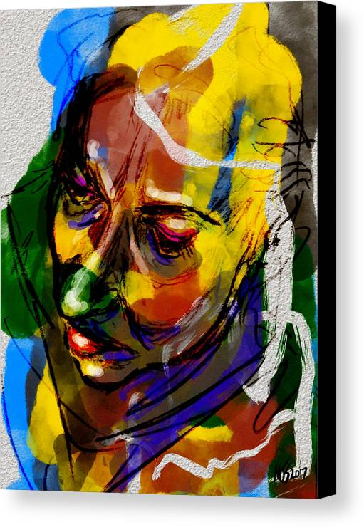 Portrait Canvas Print featuring the mixed media Contemplation by Michael Kallstrom