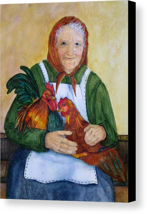 Old Lady Canvas Print featuring the painting Country Chickens by Gina Hall