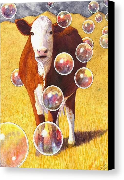 Cow Canvas Print featuring the painting Cow Bubbles by Catherine G McElroy