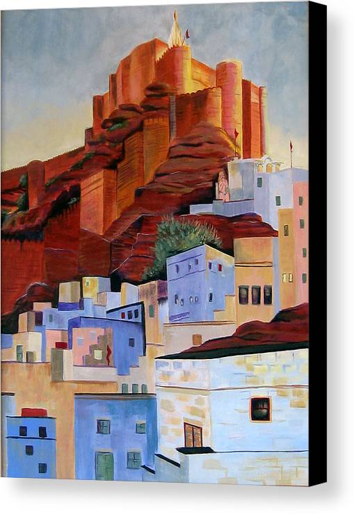 Landscape Canvas Print featuring the painting Dawn At The Fort In Jodhpur by Art Nomad Sandra Hansen