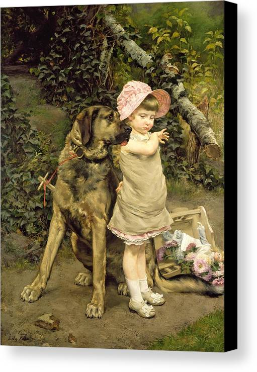 Dog Canvas Print featuring the painting Dog's Company by Edgard Farasyn