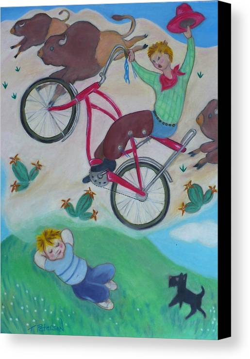 Children Canvas Print featuring the painting Dream Ride by Todd Peterson