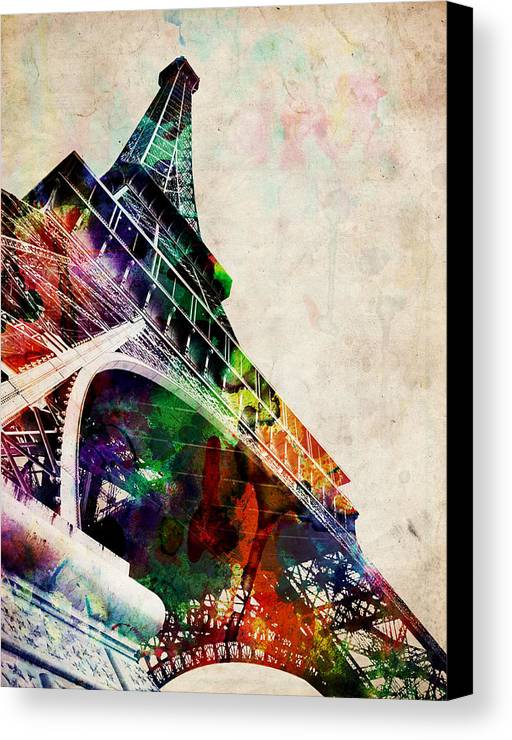 Eiffel Tower Canvas Print featuring the digital art Eiffel Tower by Michael Tompsett
