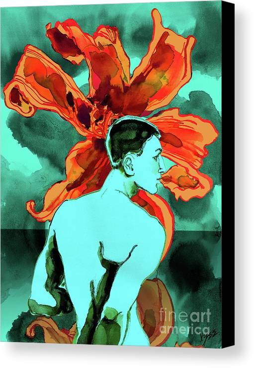 Male Nude Canvas Print featuring the digital art Enchanted Boy With Lilies by Richard Vyse