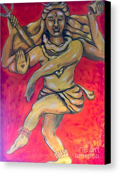 Shiva Canvas Print featuring the painting Eternal Dancer by Brindha Naveen