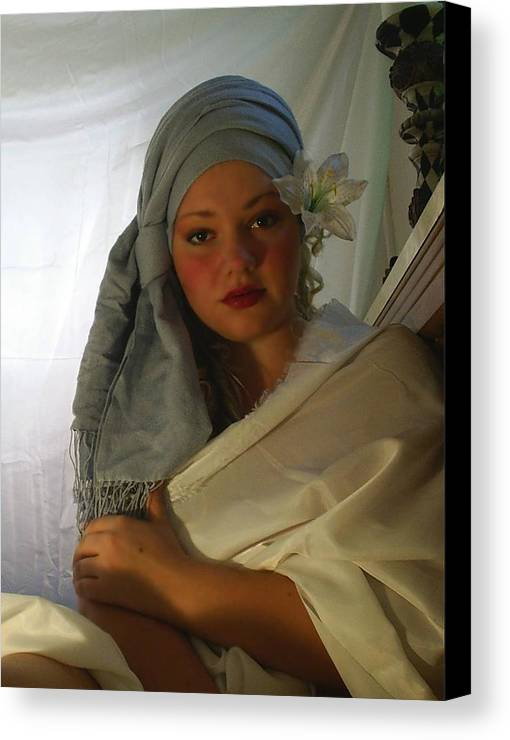 Woman Canvas Print featuring the photograph Evenings Thoughts by Scarlett Royal