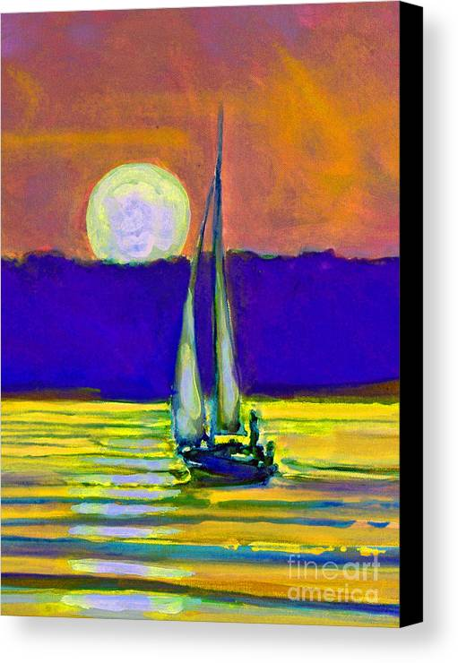 Sailing Moonlight Canvas Print featuring the painting Eventful Evening I by Kip Decker