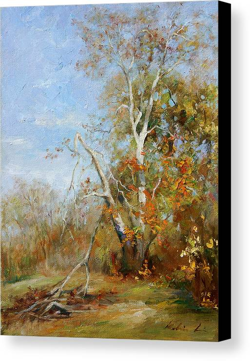 Landscape Canvas Print featuring the painting Falling Branch by Kelvin Lei