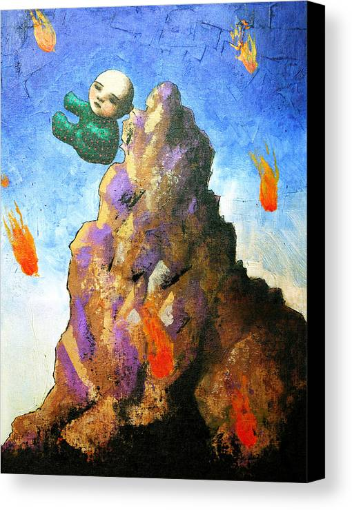 Figure Canvas Print featuring the painting Falling Off The Mountain by Pauline Lim