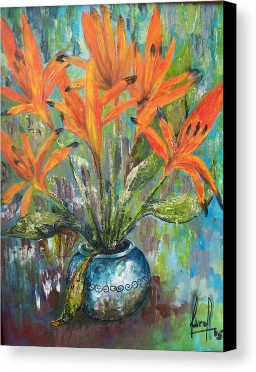Canvas Print featuring the painting Fire Flowers by Carol P Kingsley